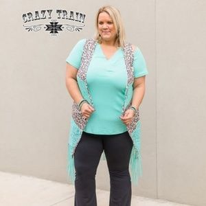VIXIN VEST ** LEOPARD AND TURQUOISE**